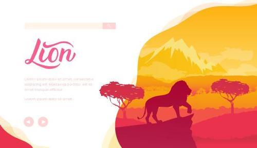 Silhouette illustration lion vector