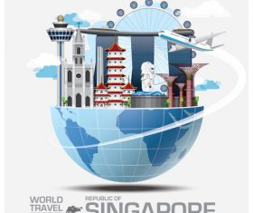 Singapore famous tourist attractions concept vector