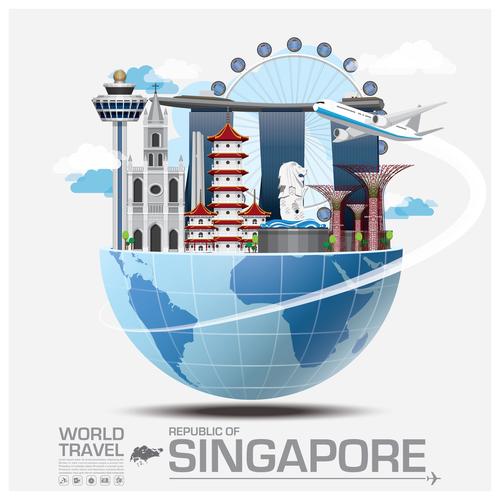 Singapore famous tourist attractions concept vector