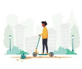 Skateboarding man cartoon illustration vector