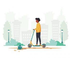 Skateboarding man cartoon illustration vector