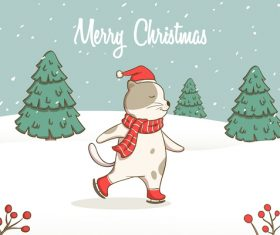 Skating cat Christmas card vector