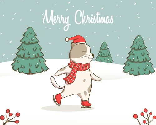 Skating cat Christmas card vector