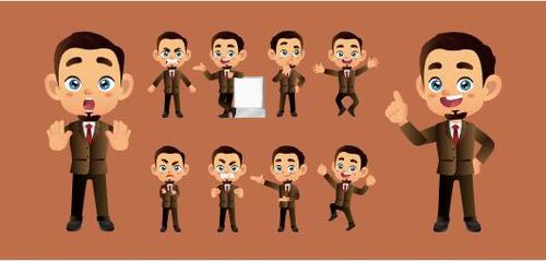 Smart and capable male different expression comic characters vector