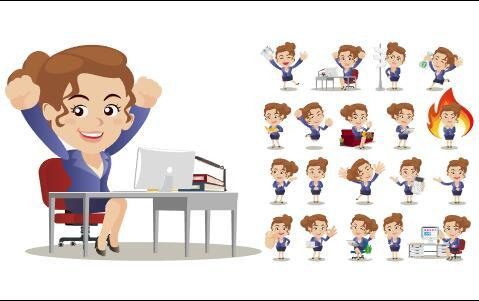 Smart businesswoman cartoon vector