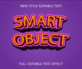 Smart object 3d text effect vector