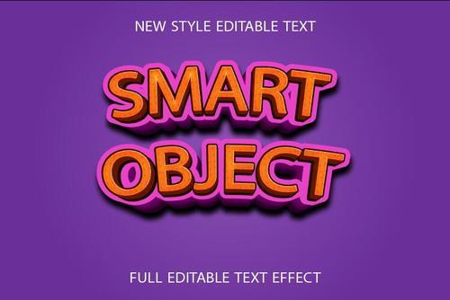 Smart object 3d text effect vector