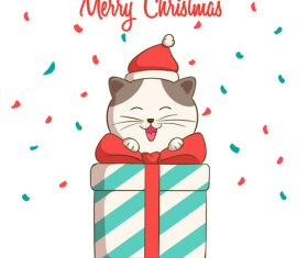 Smiling cat and gift christmas card vector