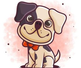 Smiling puppy cartoon icon vector