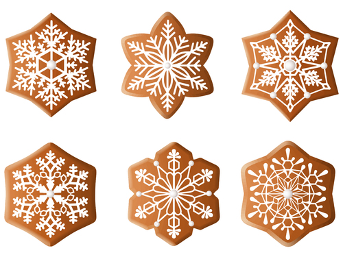 Snowflake pattern christmas gingerbreads vector