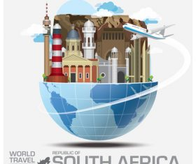 South africa famous tourist attractions concept vector