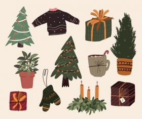 Sticker design christmas tree clothes gift vector