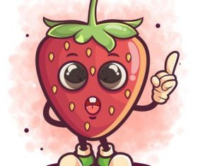 Strawberry cartoon icon vector