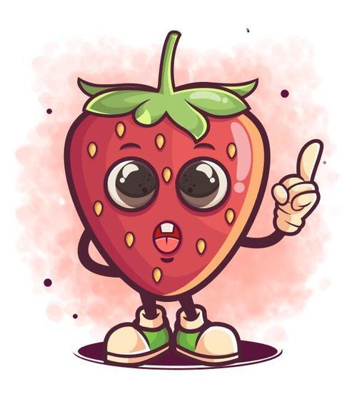 Strawberry cartoon icon vector