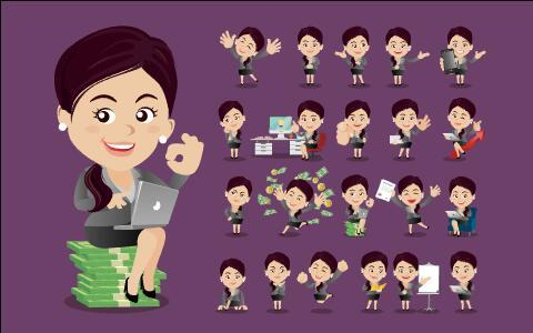 Successful business woman cartoon vector