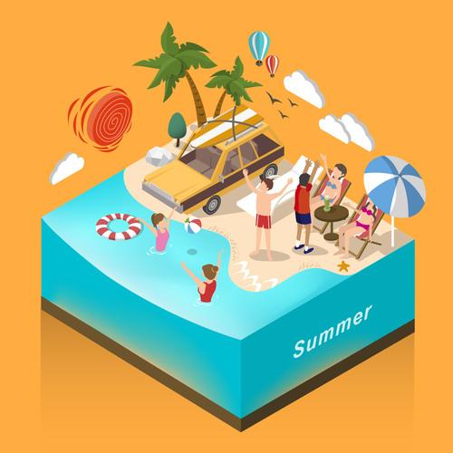 Summer 3D concept vector