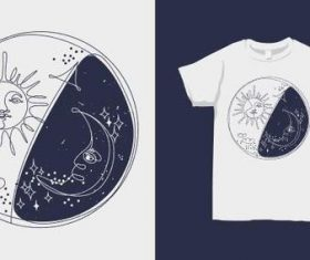 Sun and Moon T-shirt merchandise print vector