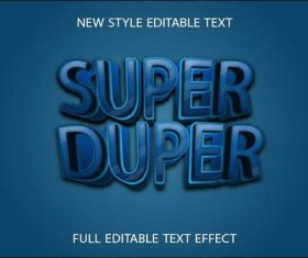 Super duper blue 3d text effect vector