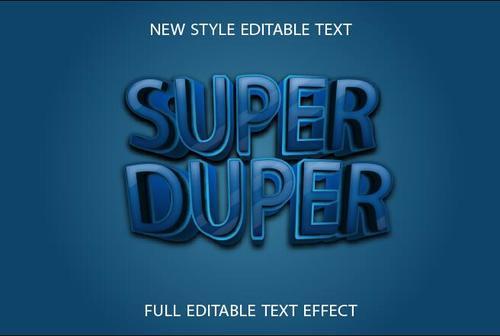 Super duper blue 3d text effect vector