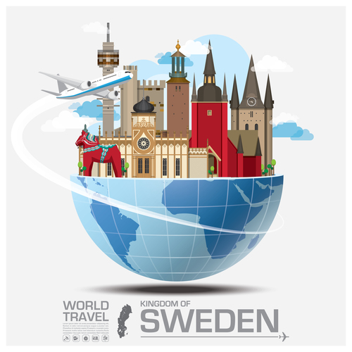 Sweden famous tourist attractions concept vector