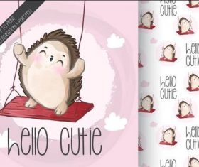 Swinging hedgehog cartoon seamless background vector