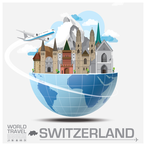 Switzerland famous tourist attractions concept vector