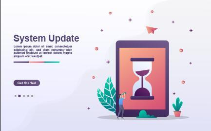 System update landing page template vector