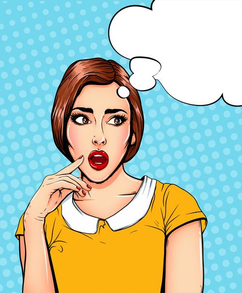 Talking woman pop art illustration vector