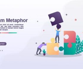Team metaphor landing page template vector