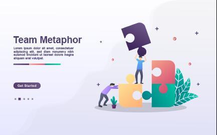 Team metaphor landing page template vector