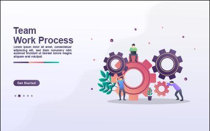 Team work process cartoon illustration vector