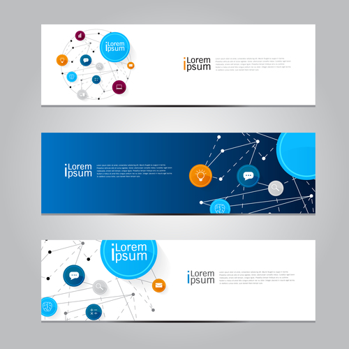 Technology connection banner vector