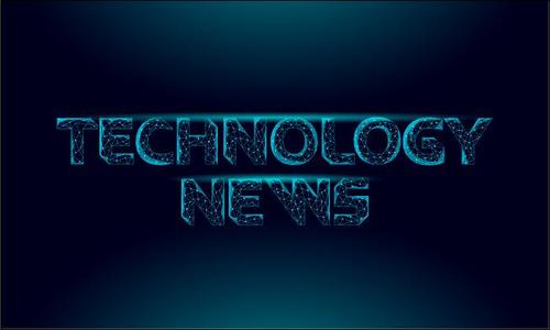 Technology news glowing font vector