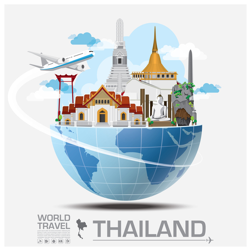 Thailand famous tourist attractions concept vector