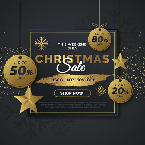 This weekend only christmas sale flyer vector