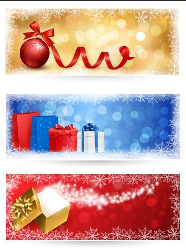 Three color background christmas banner vector