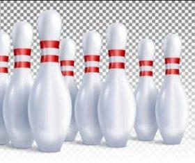 Three horizontally arranged bowling pins vector