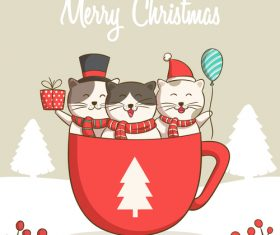 Three smiling cats christmas card vector