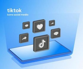Tiktok icons social media vector