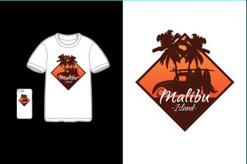 Tourist attractions T shirt merchandise printing vector