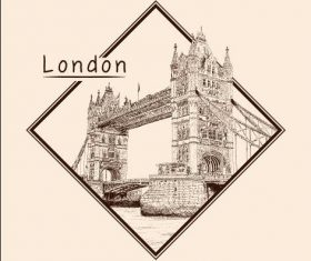 Tower Bridge architectural sketch vector