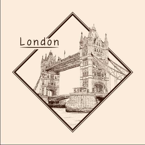 Tower Bridge architectural sketch vector