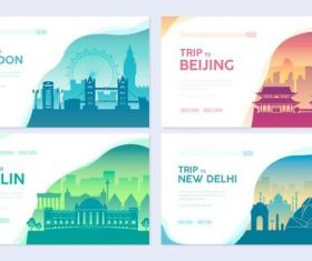 Travel colorful cards banner vector