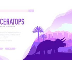 Triceratops silhouette illustration vector
