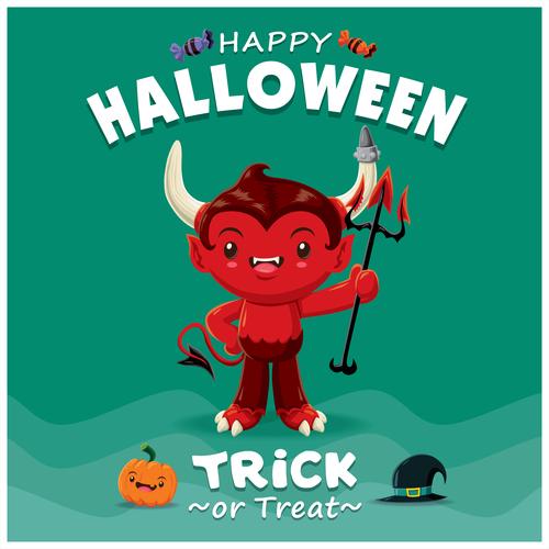 Trick or Treat halloween poster design vector