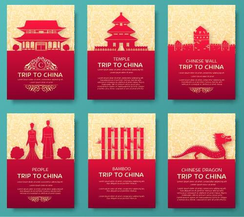Trip to china flyer vector