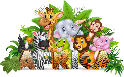 Tropical jungle animals cartoon vector