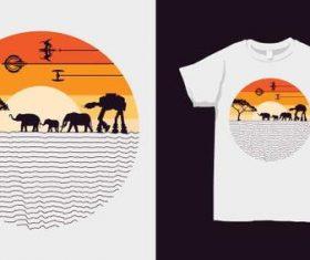 Tropical landscape merchandise silhouette print vector