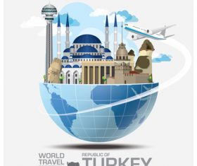 Turkey famous tourist attractions concept vector