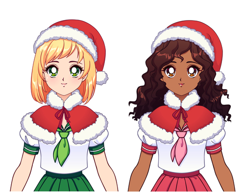 Two anime girl in Christmas suit vector